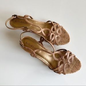 Kelly & Katie Tan & Gold Wedge Sandals Size 10